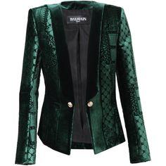 BALMAIN Velvet Jacquard Jacket ($6,500) ❤ liked on Polyvore  WINTER