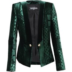 BALMAIN Velvet Jacquard Jacket (€4.810) ❤ liked on Polyvore featuring outerwear, jackets, blazers, coats & jackets, coats, green, jacquard blazer, balmain blazer, green blazer jacket and balmain jacket