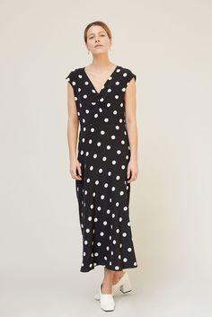 a98cdb9d28c8 No.6 Teddi Front Ruched Dress in Large Dot Black Ruched Dress, Cold Shoulder