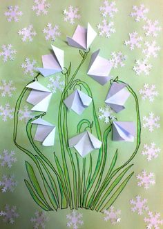 schneeglöckchen-basteln-origami-falten-papier-bastelideen-kinder - How To Make Things Origami Folding, Useful Origami, Origami Art, Diy And Crafts, Craft Projects, Crafts For Kids, Arts And Crafts, Craft Ideas, Wood Crafts