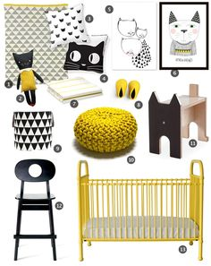 Cat inspired yellow and black nursery
