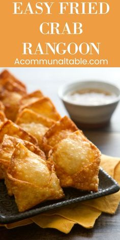 Creamy, crunchy and crabby. this Crab Rangoon recipe is an Creamy, crunchy and crabby. this Crab Rangoon recipe is an Wonton Recipes, Egg Roll Recipes, Crab Recipes, Turkey Recipes, Potato Recipes, Vegetable Recipes, Yummy Appetizers, Appetizer Recipes, Pancake
