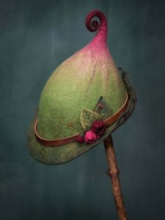 woman's felt fairy hat wren made to order by lalabugdesigns Felt Fairy, Fall Accessories, Accessories Online, Vintage Theme, Hats Online, Felt Hat, Knitted Gloves, Wet Felting, Vintage Cotton