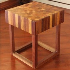 Checkered Wooden Stool (Thailand) | Overstock.com