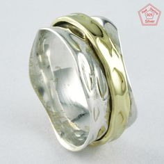 Sz 8 US, HIGHLY FINISHED TWO TONE HAMMERED 925 STERLING SILVER SPINNER RING,4404 #SilvexImagesIndiaPvtLtd #Spinner #AllOccasions
