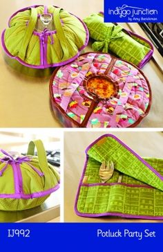 Potluck Party Set PDF sewing epattern – round casserole/pie carrier with roll-up serving set holder Easy Sewing Projects, Sewing Hacks, Sewing Crafts, Patchwork Quilting, Quilts, Sewing Basics, Sewing For Beginners, Casserole Carrier, Party Set