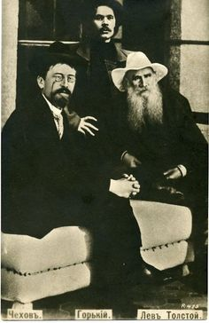 Imperial Russia - Leo Tolstoy,  Anton Chekhov, Maxim  Gorky original photo (Russian postcard)