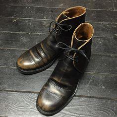 George boots. After 手入れを全くしないエイジングもいいですが、長く大事に使っていくのなら、時々メンテナンスしてあげるといいと思います!ほんとに時々でいいので! #brasstokyo #clinchboots