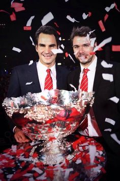 Roger Federer & Stan Wawrinka -Celebrate Switzerland's  winning the Davis Cup 2014 over France.