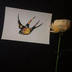 #swallow #yellowrose #watercolor #sashaunisex