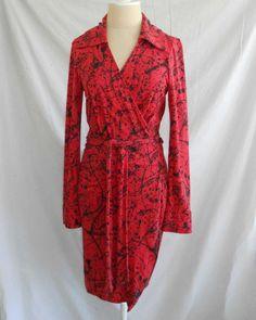 Nos DVF Diane von Furstenberg Judy Wrap Dress Red Black Print Silk Deadstock 12 #DianevonFurstenberg #WrapDress #WeartoWork