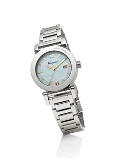"""Salvatore Ferragamo Women's FP1970014 """"Salvatore"""" Silver-Tone Diamond-Accented Watch with Link Bracelet Silver-tone stainless steel watch featuring four diamond hour markers and date window at three o'clock position on mother-of-pearl dial Swiss-Quartz movement with analog display Mineral crystal dial window Features deployant-clasp with push-button closure on link bracelet Water-resistant to 30 m (99 ft) Swiss quartz movement White mother of pearl dial with 4 diamonds and date display"""