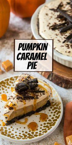 Pumpkin Caramel Pie recipe from RecipeGirl.com #pumpkin #caramel #pie #recipe #RecipeGirl Fun Easy Recipes, Best Dessert Recipes, Candy Recipes, Popular Recipes, Cheesecake Recipes, Pie Recipes, Fun Desserts, Cookie Recipes, Dinner Recipes