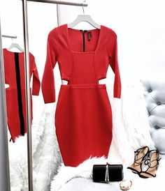 Red Dress + Accessories #MARCIANO