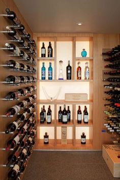 The Wave House - Contemporary - Wine Cellar - San Diego - by Safdie Rabines Architects - FeedInspire Home Wine Bar, Home Wine Cellars, Glass Wine Cellar, Wine Cellar Design, Villa Design, House Design, Wine Cellar Basement, Home Bar Designs, Wine Storage