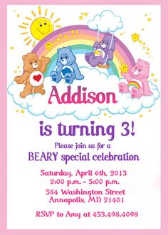 Care Bears Birthday Party Invitation - Printable File