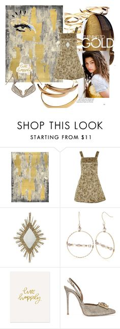 """""""Gold Rush"""" by senseofstyleus on Polyvore featuring Pottery Barn, GE, Old Navy, Alice + Olivia, Aidan Gray, New Directions, The Pink Orange and René Caovilla"""