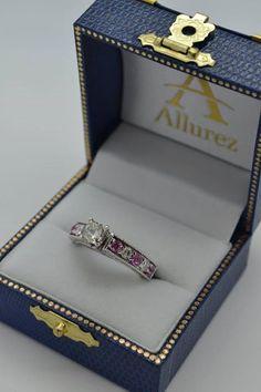 Antique Diamond & Pink Sapphire Bridal Set in 14k White Gold (2.87ct) - Allurez.com