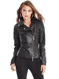 GUESS by Marciano Women's Myra Leather Moto Jacket, JET BLACK (LARGE) GUESS  by. Motorcycle ...