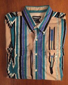 ff12d88084c Vintage Wrangler Cowboy Cut Regular Fit X-Long Tails 17.5x35 Western Shirt  USA