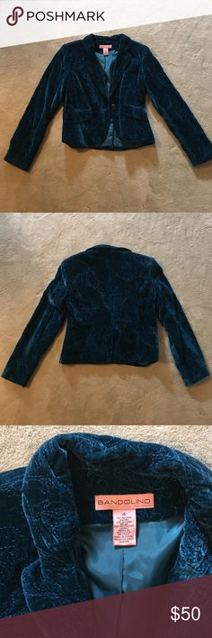Bandolino One-Button Embroidered Jacket Bandolino dark teal blue decorative embroidered jacket, with velvet-feel finish. Fully lined, one button, with faux front pockets. Size 4. 71% rayon, 29% nylon, 100% polyester lining. Never worn, but tags removed. Bandolino Jackets & Coats Blazers