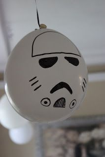 I'm gonna do this for Aiden's Star Wars birthday party! Just get white balloons and a black sharpie! lol