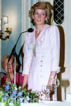Britain's Princess Diana, the Princess of Wales, speaking after she has been presented with the Golden Mercury Award, presented by the board of Interflora Incorporated, at the Savoy Hotel, London, on June 14, 1989.