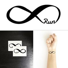 Forever run. By wearing this tattoo you are not only showing off your love for running, you are also showing off your personal aspirations and accomplishments. You are literally wearing your running s Dream Tattoos, Mom Tattoos, Friend Tattoos, Wrist Tattoos, Tattoo You, Body Art Tattoos, Tatoos, Tattoos For Women Small, Small Tattoos
