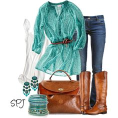 Love the Flowy Sheer Belted Turquoise Top, Low Rise Jeans, Brown Leather Knee High Boots, Brown Leather Bag, Turquoise Jewelry Passion For Fashion, Love Fashion, Womens Fashion, Fall Outfits, Casual Outfits, Fashion Outfits, Turquoise Top, Turquoise Jewelry, Turquoise Shirt