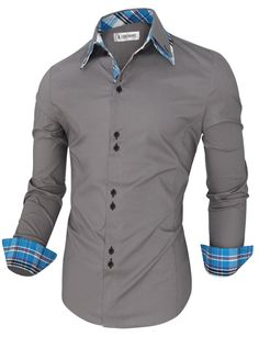 Tom's Ware Mens Trendy Slim Fit Inner Checkered Button Down Shirt TWNMS323S-GRAY-US S