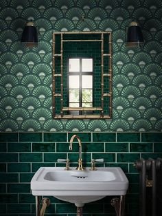 inspiration from the Roaring Twenties and the decadent tastemakers of the jazz age the bold DECO MARTINI graphic print brings art deco opulence to your interior with exquisite colours of Arsenic greens. Classic has never looked so iconic. Order a sample Bathroom Tile Designs, Bathroom Interior Design, Home Interior, Art Deco Bathroom, Modern Bathroom, Bathroom Ideas, Studio Interior, Minimalist Bathroom, Bathroom Layout