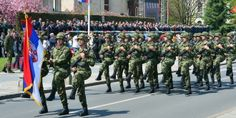Enlisted servicemen of the Serbian Army marching through  Kosovo Heroes' Square in Kruševac at the 2013 Serbian Armed Forces Day Parade.