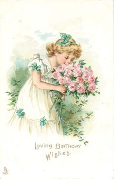 Shop Vintage Valentine's Day Cute Girl Pink Roses Love Holiday Postcard created by red_dress. Birthday Postcards, Vintage Birthday Cards, Holiday Postcards, Vintage Greeting Cards, Vintage Valentines, Vintage Ephemera, Vintage Postcards, Happy Birthday 1, Birthday Wishes Girl