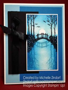 Hand stamped Bridge Reflection – Stampin' Up! Card created by Michelle Zindorf - My Meadow Stamp set Scrapbooking, Stamping Up Cards, Watercolor Cards, Cool Cards, Blank Cards, Making Ideas, Cardmaking, Birthday Cards, Paper Crafts