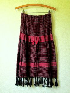 Vintage handwoven boho skirt. Medium weight red & black stripes & pattern. PLEASE NOTE: the red is true red & not pinkish as it may appear in the