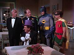 Neil Hamilton, Burgess Meredith (Penguin), Stafford Repp, Adam West and Burt Ward in Batman (1966)
