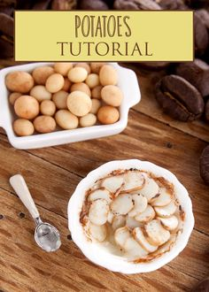 Potatoes Miniature Tutorial PDF tutorial teaches how to make potatoes and also potato bake (also known as 'pomme dauphinoise') in 1:12 miniature scale using polymer clay and mixed media.