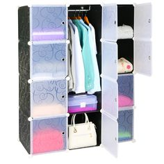 Leapair Multi-function 12 Cube DIY Wardrobe Plastic Combination Cabinet Storage Toy Organizer Black ** Check this awesome image  : DIY : Do It Yourself Today