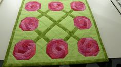 Roses For Mom Vase Mat 13 square.  Pink Roses.  by Quiltbuilders