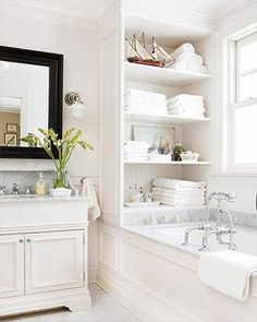 Bathroom storage Built-In Bath Storage Modern Bathroom Design ideas picture luxury bathroom Vintage door knobs as bath towel hangers. Beautiful Bathrooms, Modern Bathroom, Bathroom Interior, Design Bathroom, White Bathrooms, Dream Bathrooms, Neutral Bathroom, Luxury Bathrooms, Minimalist Bathroom