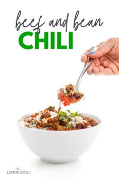 Hearty and spicy beef and bean chili is the perfect fall or winter dinner. Add toppings like chopped onions, cilantro, cheese, or jalapenos. Make ahead easy meal for the whole family.