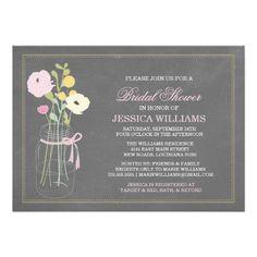 Shabby Chic Mason Jar Bridal Shower Invitations #shabbychic #masonjar #bridalshower #invitations #pink #yellow #craspedia #peonies