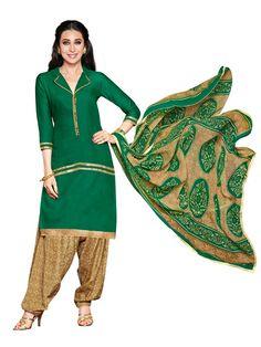 Charismatic Green And Beige Cotton Salwar Suit - Salwar Suits - Rakhi Sale