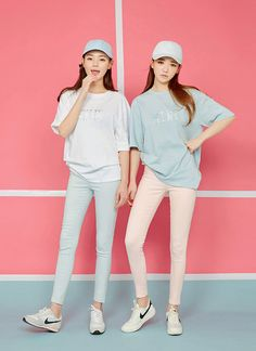 future: pastel blue graphic tee, pink skinny jeans, light blue skinny jeans More