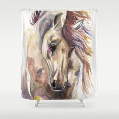 Colored Horse Shower Curtain by Kelley Meredith Art - $68.00