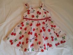 Retro Style White & Red Cherry Gymboree Baby Girls Rockabilly Dress 6-12 M