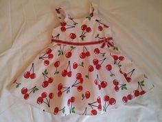 Retro Style White & Red Cherry Gymboree Baby Girls Rockabilly Dress 6-12 M