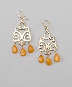 Take a look at this Bronze Orange Jade Beaded Drop Earrings by Barse on #zulily today!
