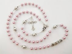 Baptism Girl Personalized Rosary Gift in Dusty Rose Pink and | Etsy