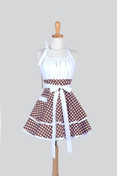 Etsy listing at https://www.etsy.com/listing/181928805/flirty-chic-apron-cocoa-brown-and-white